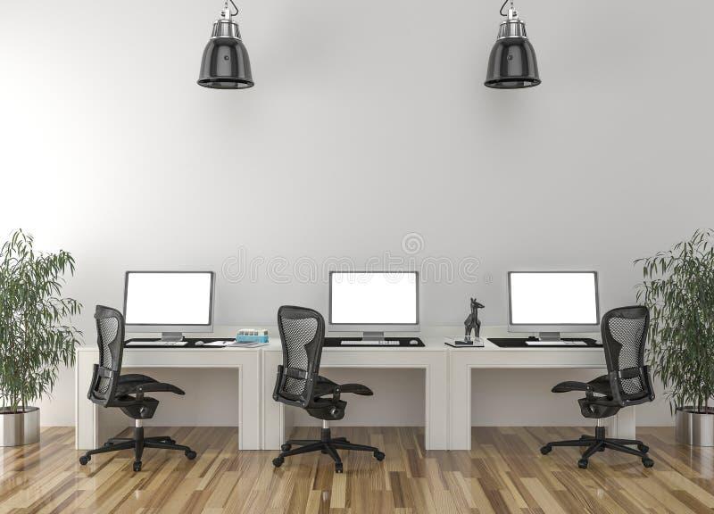Trabaje los escritorios en sitio vacío con la pared grande en fondo libre illustration