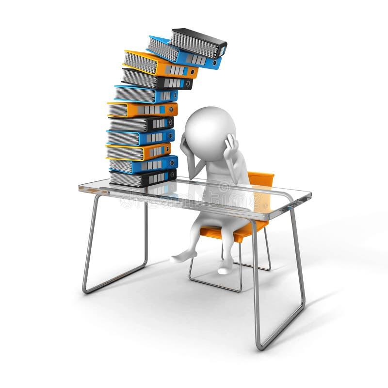Trabajo blanco de 3d Person Tired Of Hard Office ilustración del vector