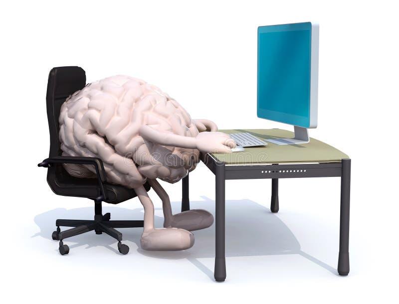 Trabajo de cerebro sobre el escritorio con el ordenador stock de ilustración