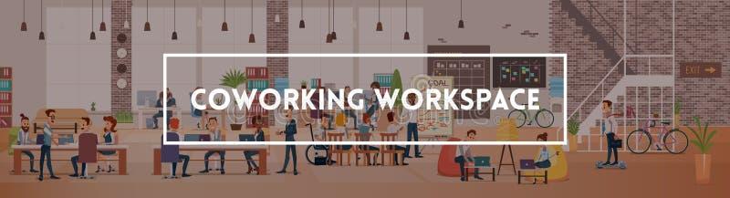 Trabajo de la gente en oficina Espacio de trabajo de Coworking Vector stock de ilustración