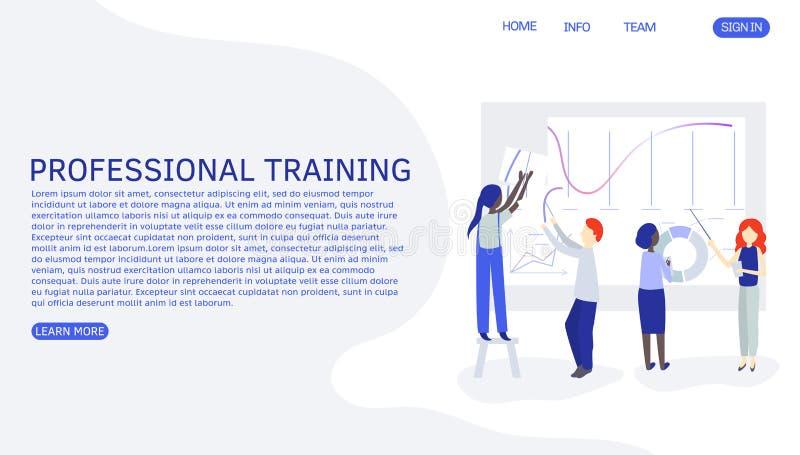 Trabajo de la gente junto en equipo Enseñanza de la persona o nuevos empleados de entrenamiento Gente que trabaja junto el dibujo stock de ilustración