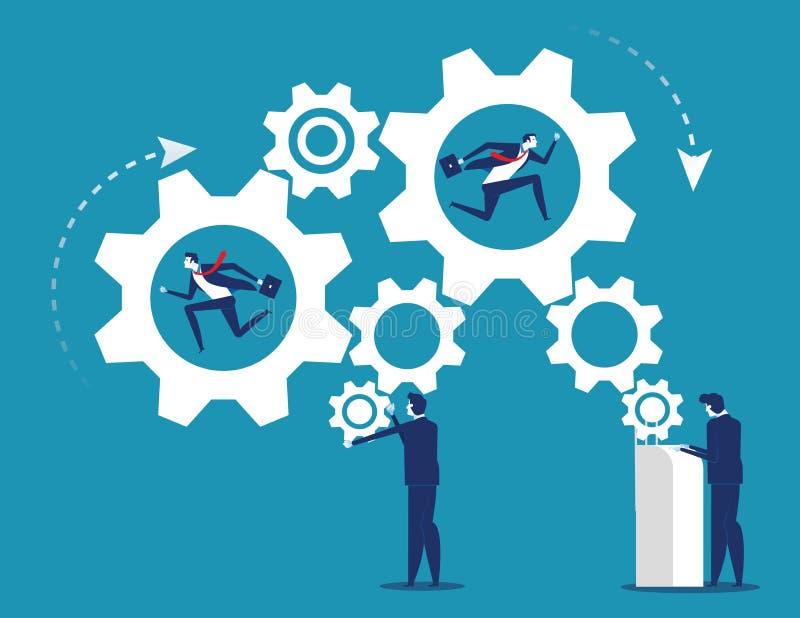 Trabajo de la industria de la gente y del negocio del mecanismo de engranajes Ejemplo del vector del equipo del negocio del conce stock de ilustración