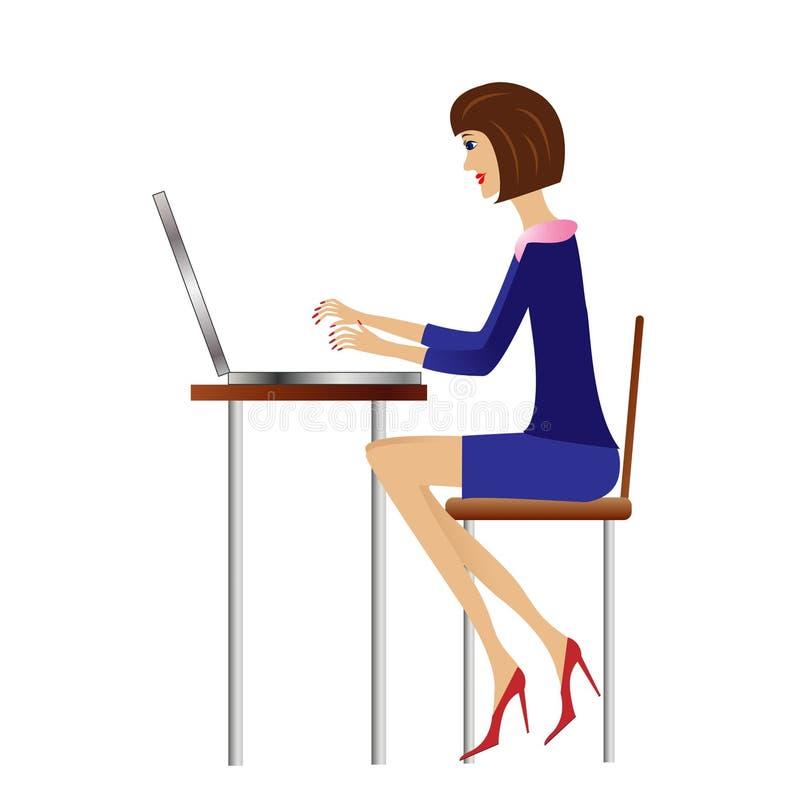 Trabajo de la mujer de negocios en oficina libre illustration