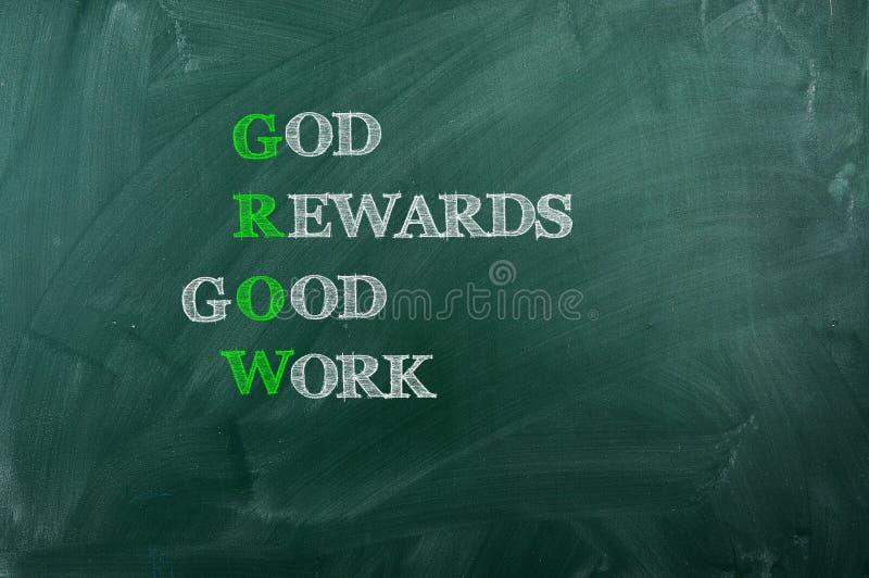 Trabajo de la recompensa de dios buen imagen de archivo libre de regalías