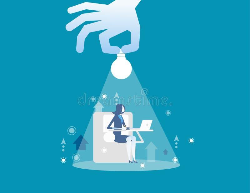 Trabajo de las empresarias Hombre de negocios e iluminación de la tenencia de la mano Ejemplo del vector del negocio del concepto libre illustration
