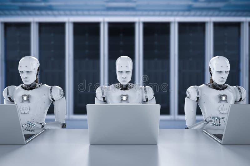 Trabajo de los robots sobre el ordenador portátil imagen de archivo libre de regalías