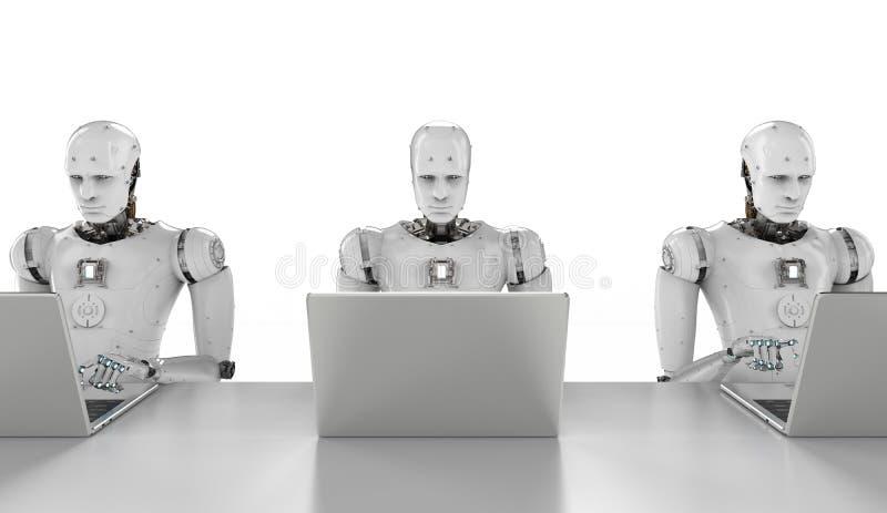 Trabajo de los robots sobre el ordenador portátil libre illustration