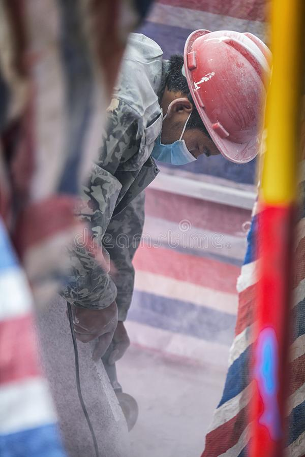 Trabajo de los trabajadores emigrantes fotos de archivo libres de regalías