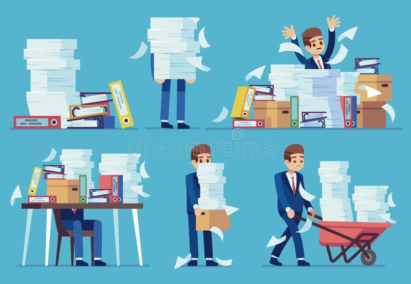 Trabajo de oficina inorganizado Pilas de los documentos de papel que consideran, desorden en ficheros en la tabla del contable Pa stock de ilustración