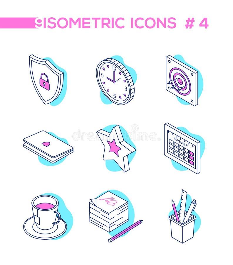 Trabajo de oficina - línea iconos isométricos del estilo del diseño ilustración del vector