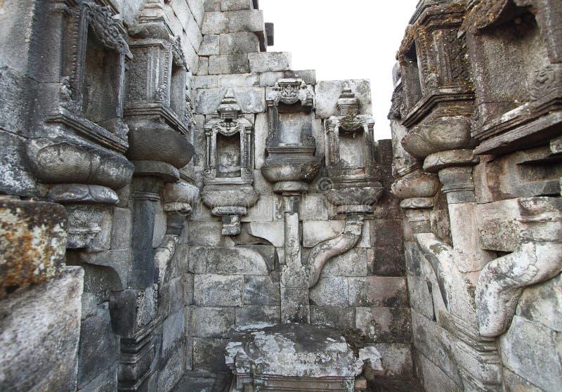 Trabajo de piedra detallado en Candi Sewu fotografía de archivo