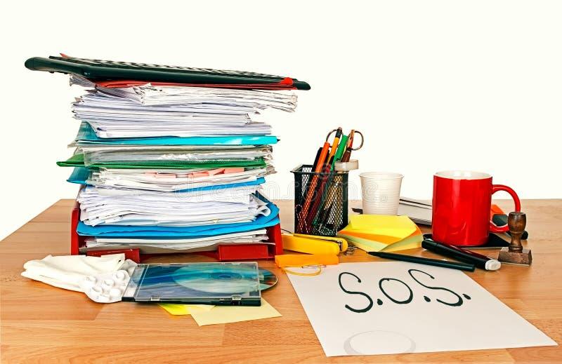 Trabajo del empleo el SOS, problema Concepto foto de archivo