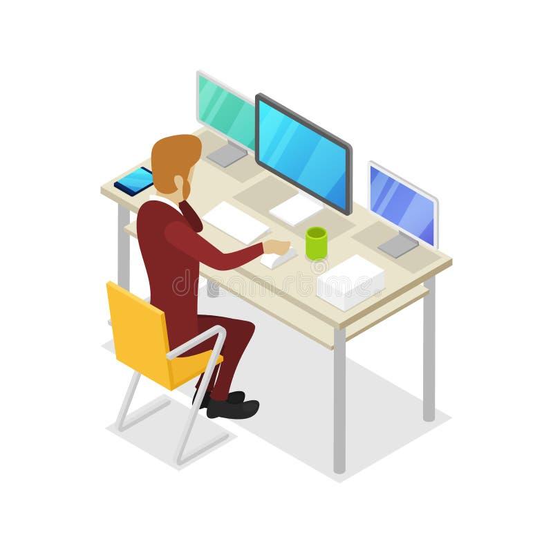 Trabajo del encargado sobre el icono isométrico 3D del ordenador ilustración del vector