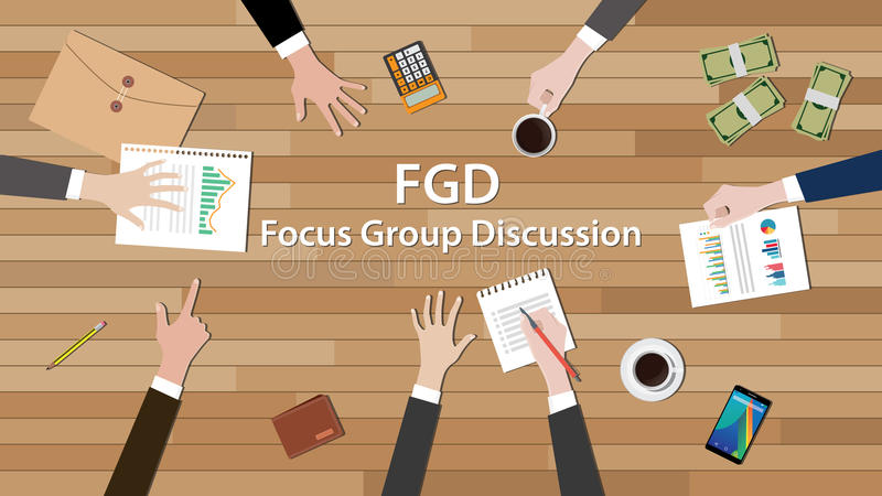Trabajo del equipo de la discusión del grupo principal de Fgd junto en la tabla de madera ilustración del vector