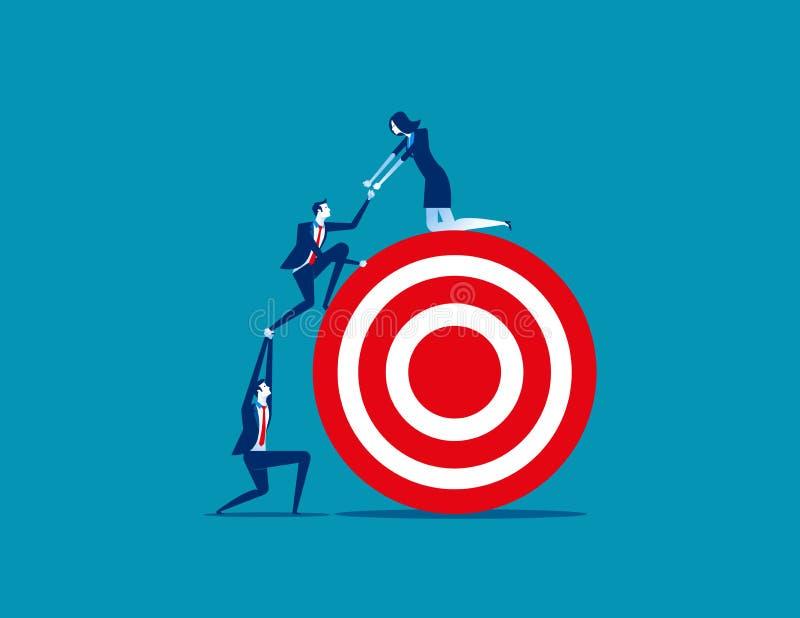 Trabajo del equipo de la persona del negocio hacia la blanco Negocio v del concepto libre illustration