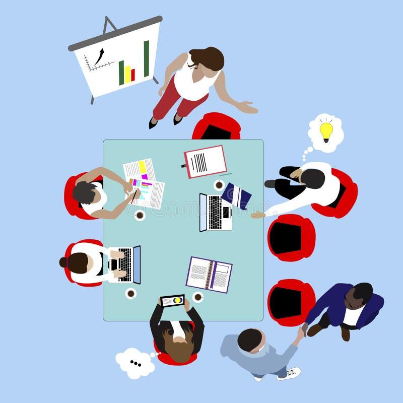 Trabajo del equipo y reunión de negocios Opinión de top de la presentación y del intercambio de ideas ilustración del vector