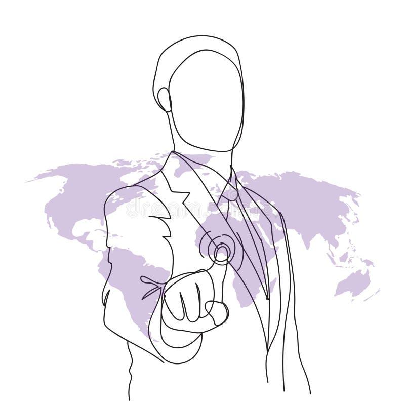 Trabajo del garabato del hombre de negocios con el botón futurista de la pantalla de Digitaces sobre la mano del mapa del mundo d libre illustration