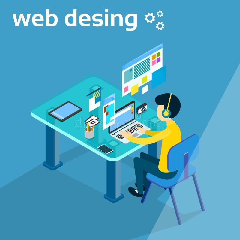 Trabajo del hombre de negocios sobre el diseñador Photographer Workspace Desk 3d del diseñador web del ordenador portátil isométr libre illustration