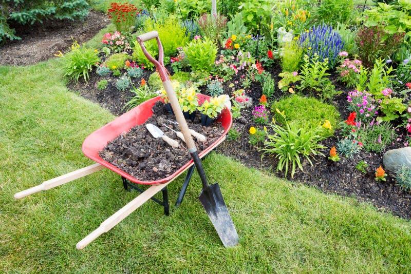 Trabajo del jardín que es hecho ajardinando un macizo de flores imagen de archivo libre de regalías