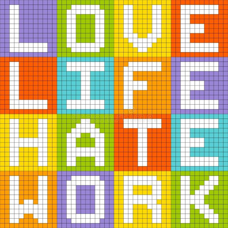 Trabajo del odio de la vida del amor, concepto de 8 bits del Pixel-arte stock de ilustración