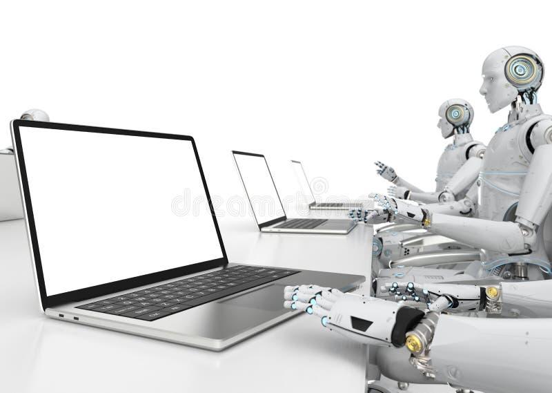 Trabajo del robot sobre el cuaderno stock de ilustración