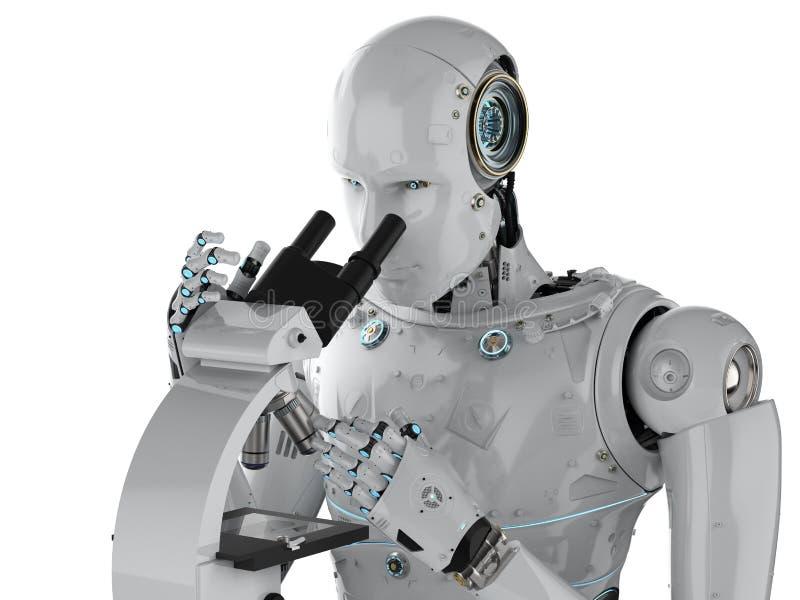 Trabajo del robot sobre el microscopio ilustración del vector
