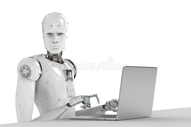 Trabajo del robot sobre el ordenador portátil fotos de archivo