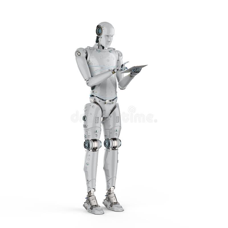 Trabajo del robot sobre la tableta libre illustration