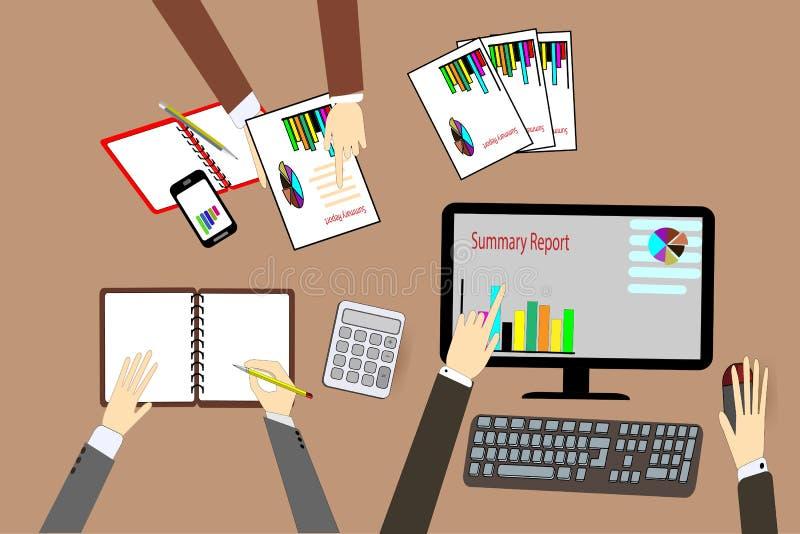 Trabajo del ` s del hombre de negocios del equipo trabajo con el ordenador portátil en oficina del espacio abierto libre illustration