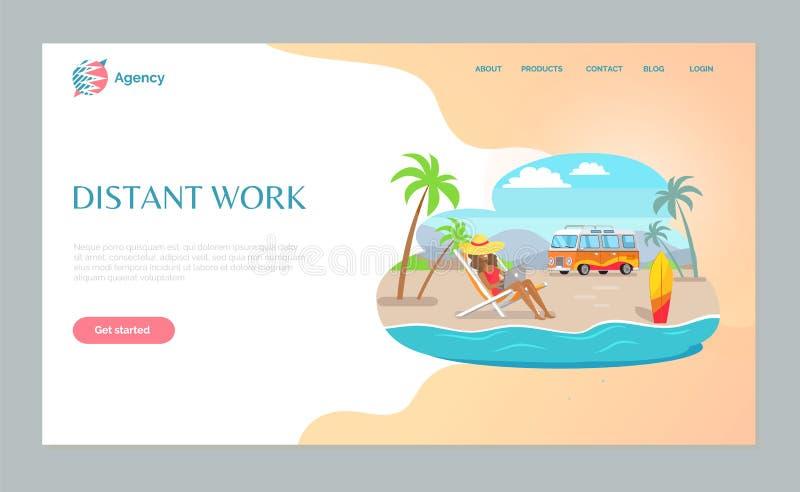 Trabajo distante, muchacha usando el ordenador portátil en vector de la playa ilustración del vector