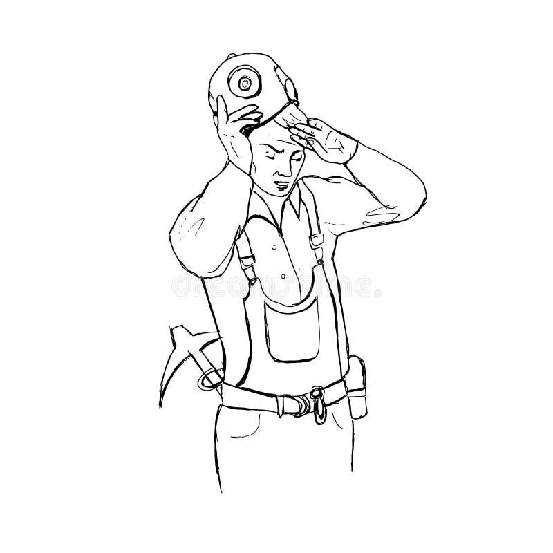 Trabajo duro del minero ilustración del vector