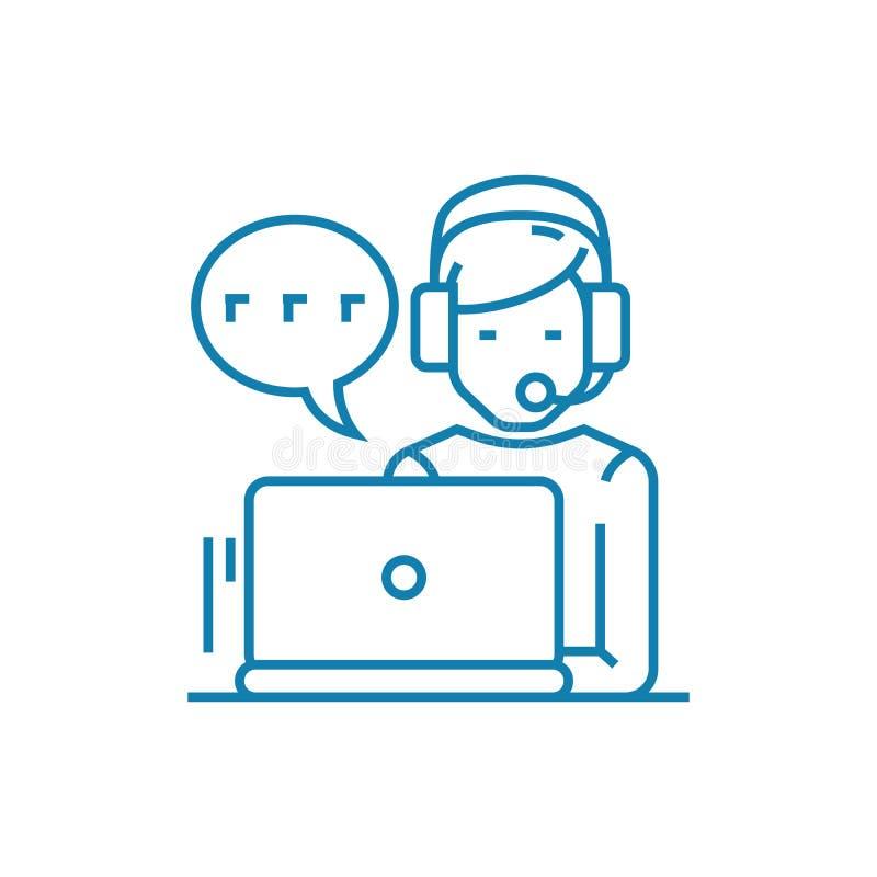 Trabajo en el concepto linear del icono del centro de atención telefónica Trabajando en la línea muestra del centro de atención t stock de ilustración