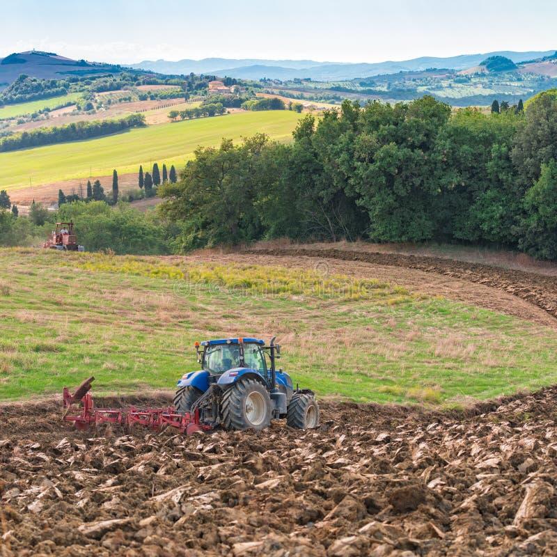 Trabajo en el terreno en Toscana imagen de archivo libre de regalías
