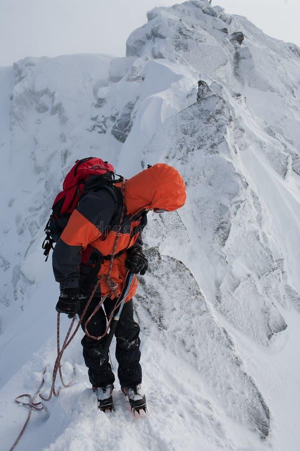 Trabajo en equipo en alpinismo mountaineering Atraviese de la montaña foto de archivo