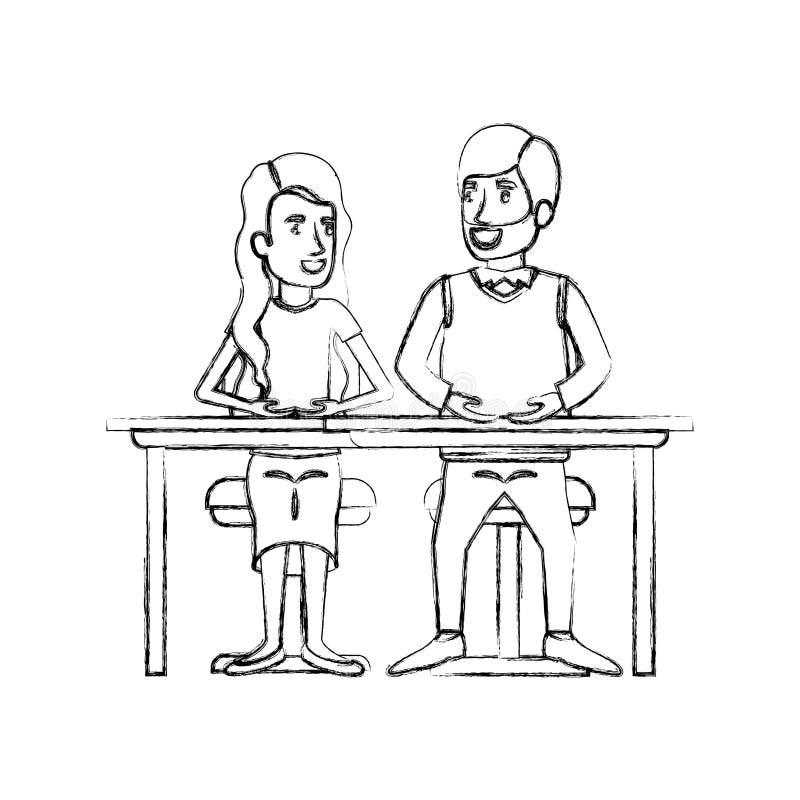 Trabajo en equipo borroso de la silueta de los pares que se sientan en escritorio y mujer con el pelo largo ondulado y el pelo de stock de ilustración