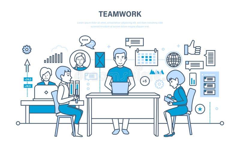Trabajo en equipo, comunicación, intercambio de información importante, diálogos, discusiones, espacio del flujo de trabajo libre illustration