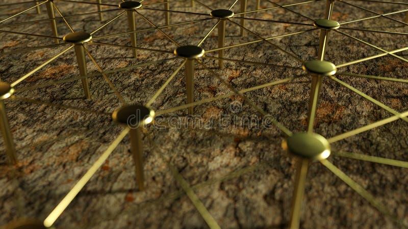 Trabajo en equipo conceptual ligado La red, establecimiento de una red, conecta Establecimiento de una red abstracto representaci stock de ilustración