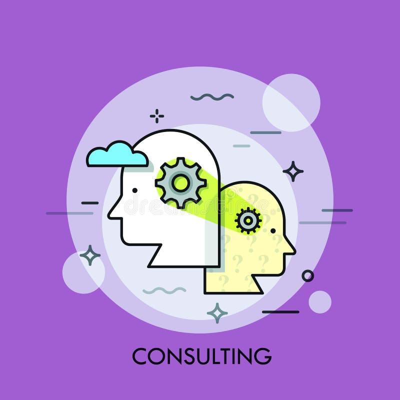 Trabajo en equipo, cooperación profesional y concepto de la estrategia de desarrollo de negocios, pensamiento colectivo stock de ilustración