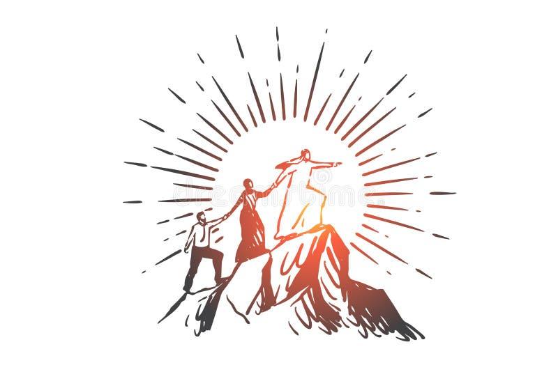 Trabajo en equipo, coworking, sociedad, dirección, éxito, bosquejo del concepto de la globalización Vector aislado dibujado mano stock de ilustración