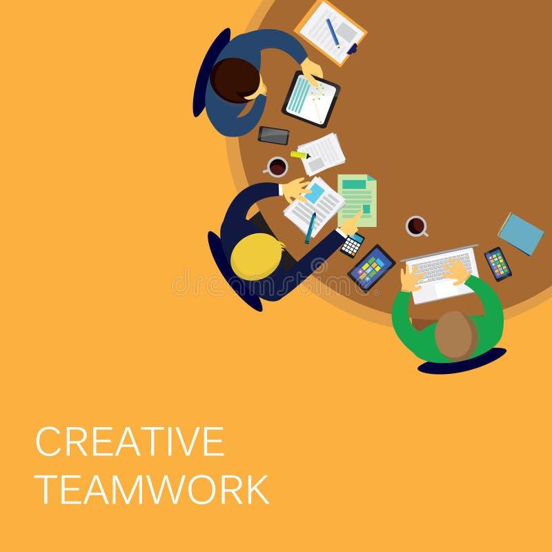 Trabajo en equipo creativo del negocio stock de ilustración