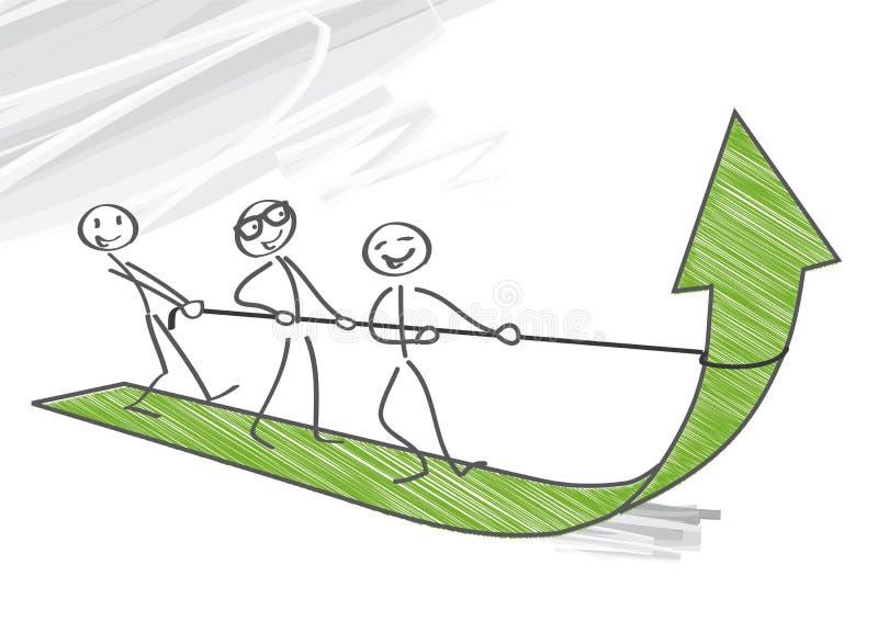 Trabajo en equipo, crecimiento stock de ilustración