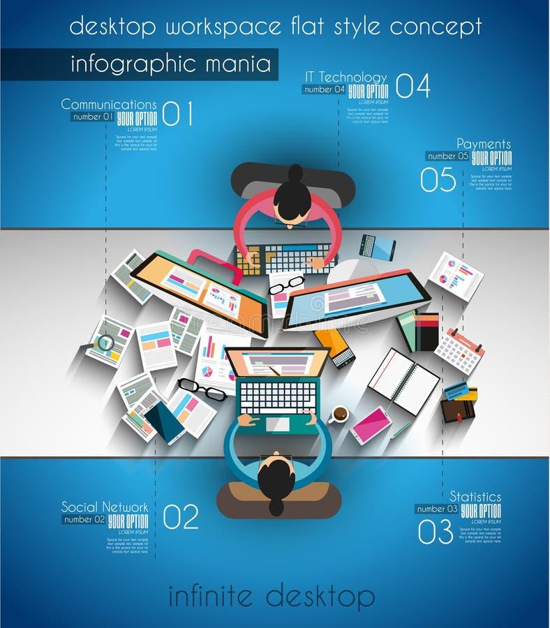 Trabajo en equipo de Infographic y el brainsotrming con estilo plano libre illustration