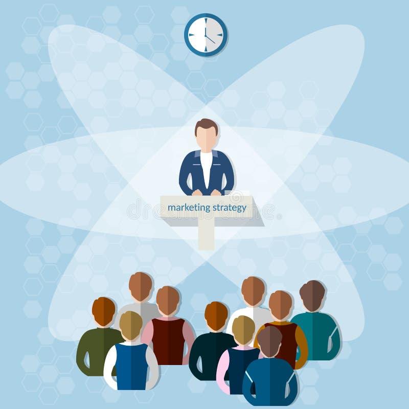 Trabajo en equipo de la estrategia de marketing del concepto del congreso de negocios ilustración del vector