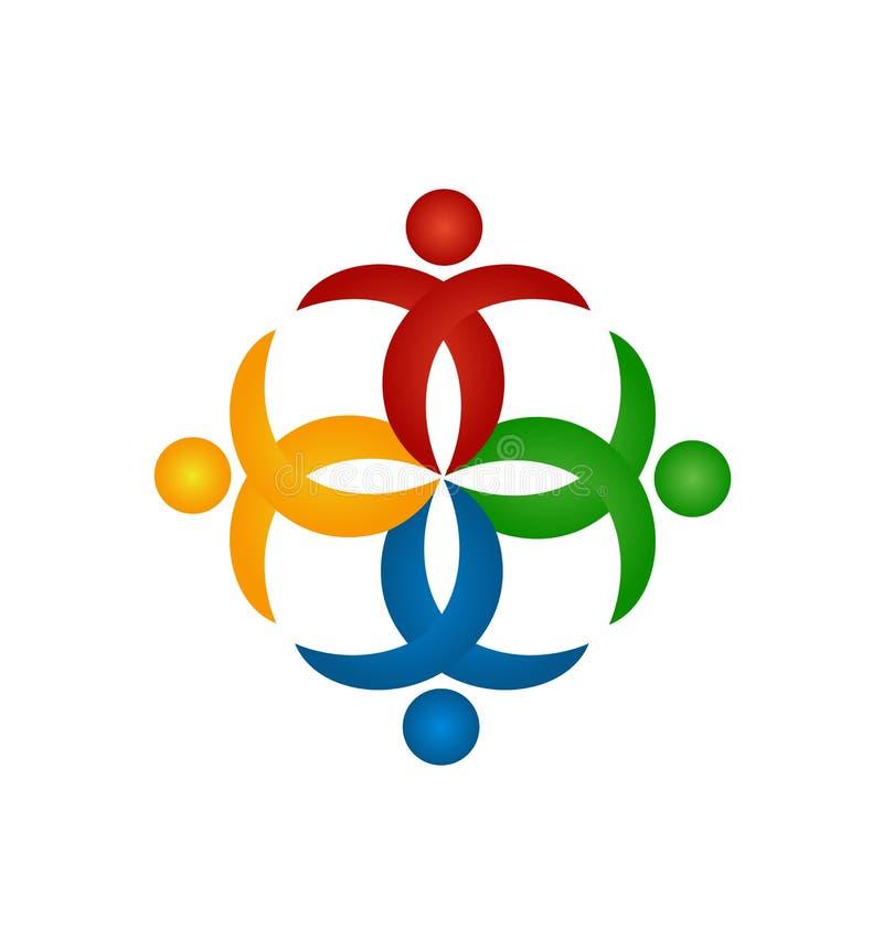 Trabajo en equipo de la gente que cuida, vector del icono de la forma de la flor ilustración del vector