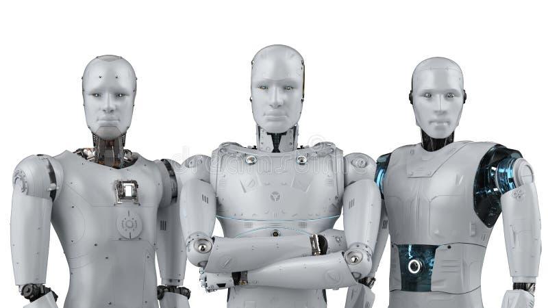 Trabajo en equipo de la inteligencia artificial stock de ilustración