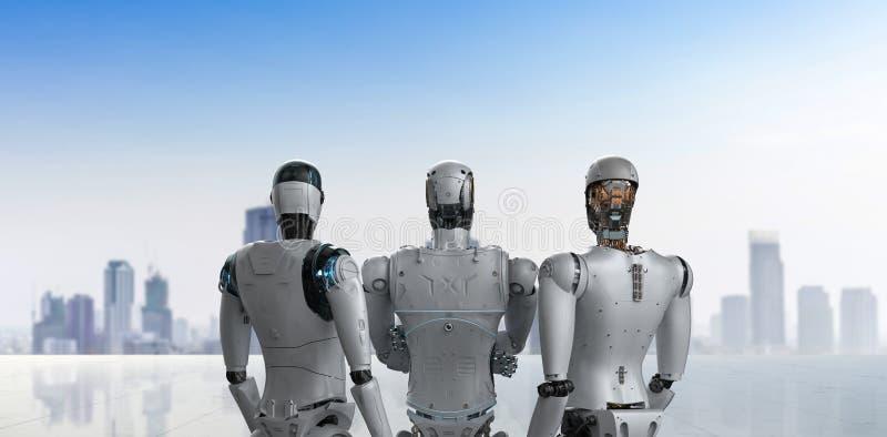 Trabajo en equipo de la inteligencia artificial ilustración del vector