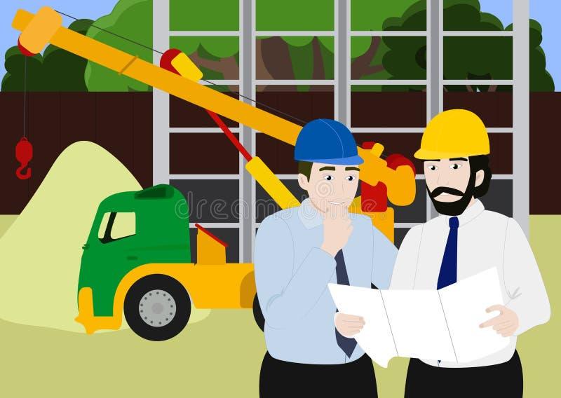 Trabajo en equipo del ingeniero y del trabajador de negocio, construyendo bajo fondo del emplazamiento de la obra, construcción d libre illustration