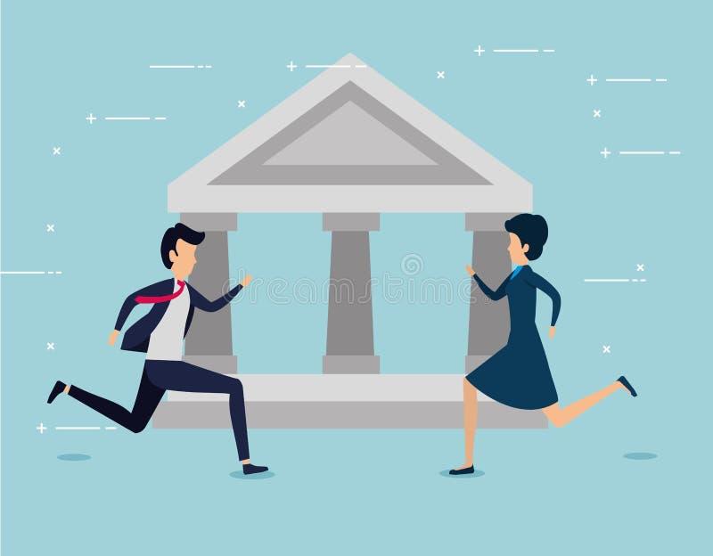 Trabajo en equipo del negocio de la mujer y del hombre con el banco libre illustration