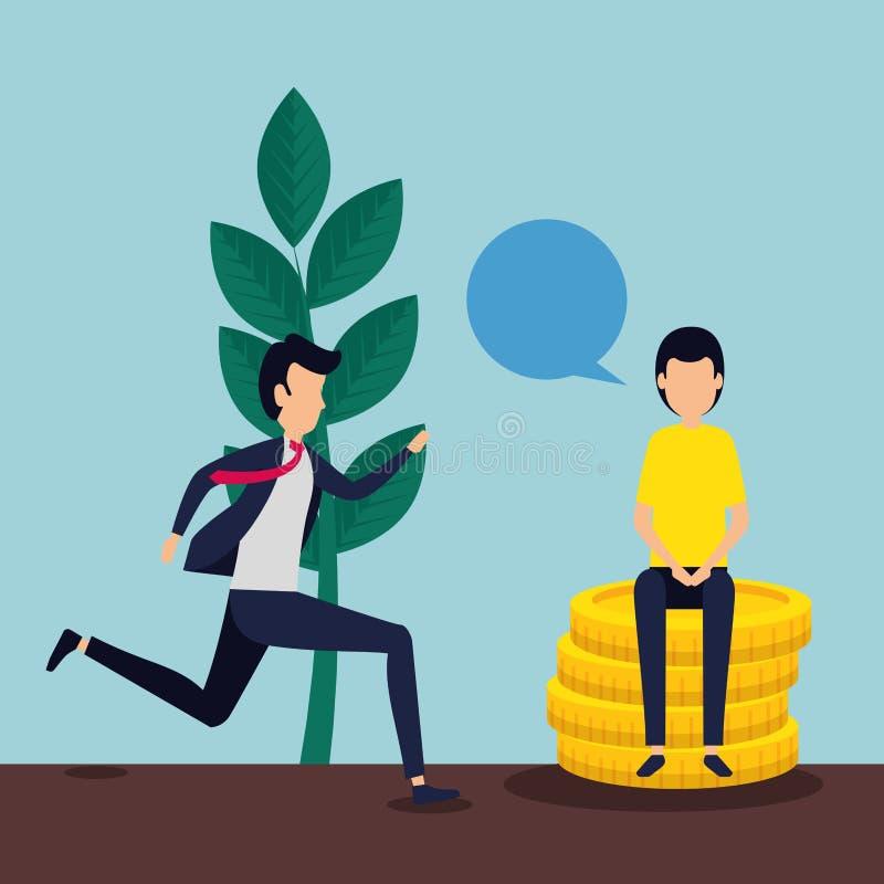 Trabajo en equipo del negocio de los hombres con las monedas y la burbuja de la charla stock de ilustración