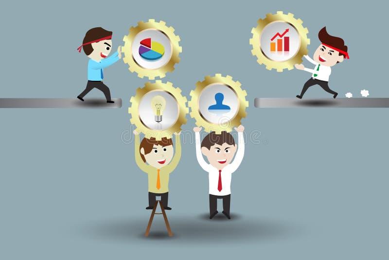 Trabajo en equipo, hombres de negocios que montan el sistema del engranaje stock de ilustración